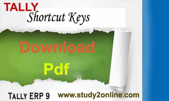 Tally ERP 9 Shortcut Keys Pdf Download